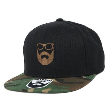 Bearded Man Apparel Logo Black Camo Snapback