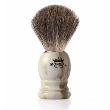 Mondial Basic Shaving Brush Grey Badger, Clear Marble
