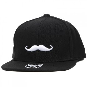 Bearded Man Apparel Mustache Logo Black Snapback