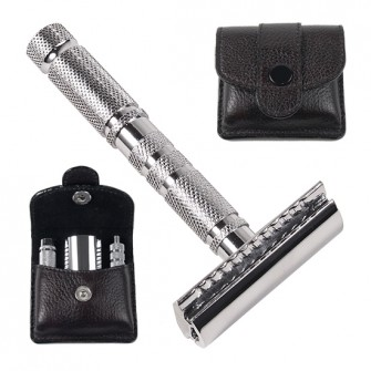 Parker 4-Piece Travel Safety Razor with Leather Pouch