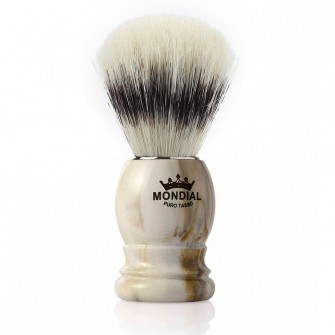 Mondial Basic Shaving Brush Pure Bristle, Clear Marble