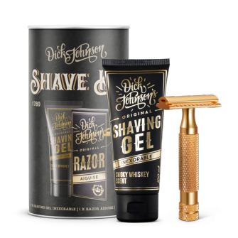 Dick Johnson Shave Kit (Razor Aiguise Gold, Shaving Gel, 5 x Razor)