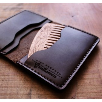 Big Red Beard Bi-Fold Wallet Black + Handcrafted Beard Comb
