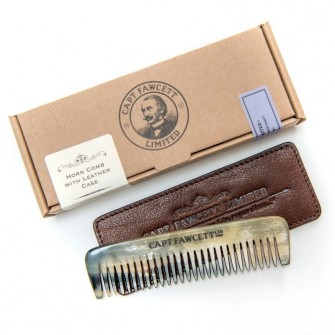 Captain Fawcett Horn Comb with Leather Case