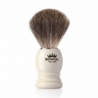 Mondial Basic Shaving Brush Grey Badger, Ivory