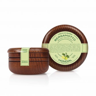 Mondial Classic Luxury Shaving Cream Bergamotto Neroli Wooden Bowl