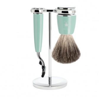 Muhle Rytmo Shaving Set Mach3 + Brush, Mint Resin