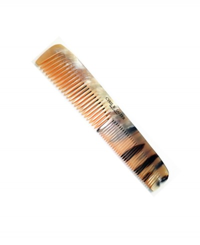 Cyril R Salter Double Tooth Comb with Pouch Genuine Horn 17 cm