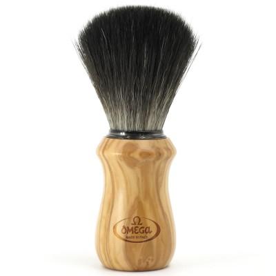 """Omega Shaving Brush """"Hi Brush"""" Black Fibre Olive Wood"""