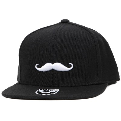 Bearded Man Apparel Mustache Logo Black Snapback