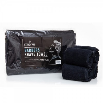 Barber Pro Barbers Shave Towel Black 4-pack