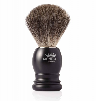 Mondial Basic Shaving Brush Grey Badger, Satin Black