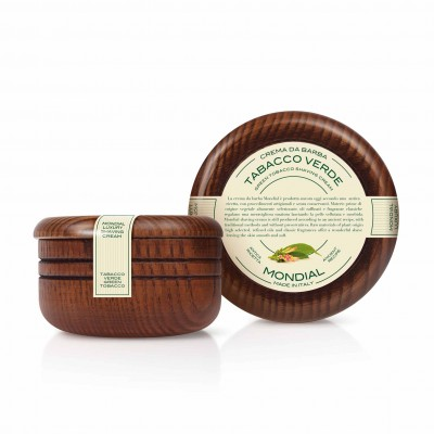 Mondial Classic Luxury Shaving Cream Tabacco Verde Wooden Bowl