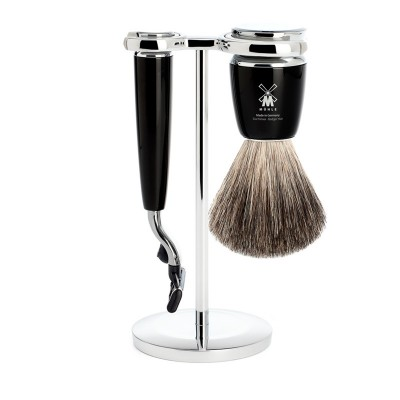 Muhle Rytmo Shaving Set Mach3 Razor + Brush, Noir
