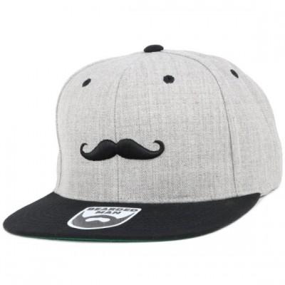 Bearded Man Apparel Mustache Logo Grey/Black Snapback